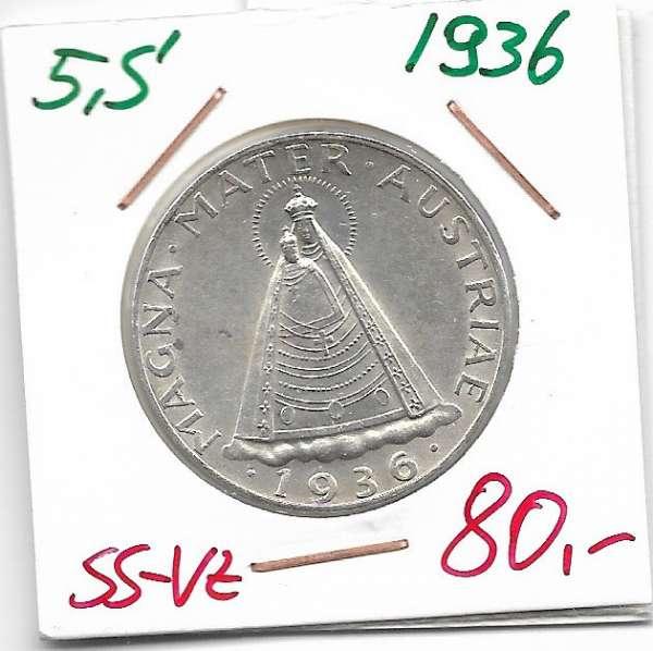 5 Schilling 1936 Silber
