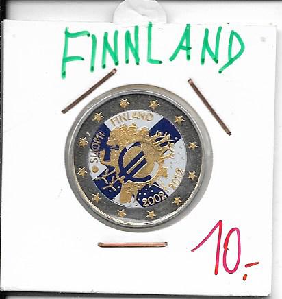 2 Euro Finnland 2012 10 Jahre Euro Coloriert