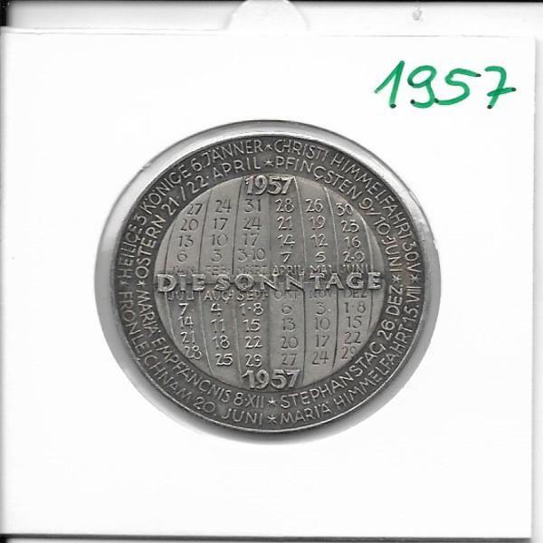 Kalendermedaille Jahresregent 1957 Bronze versilbert