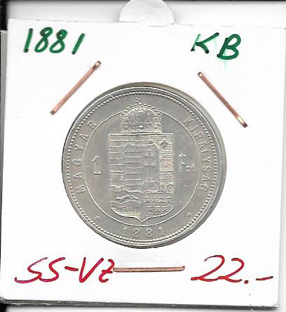 1 Gulden Forint 1881 KB Silber Franz Joseph