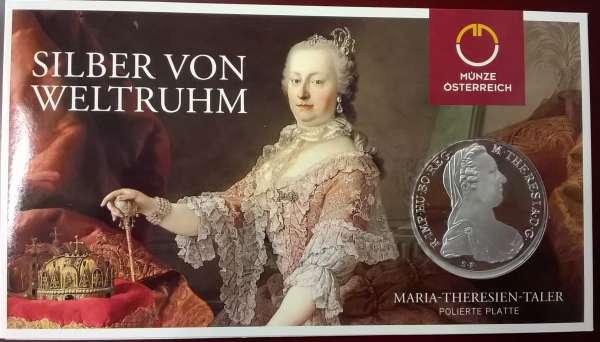 1 Maria Theresia Taler 23,3 gr. Feinsilber im Blister PP POLIERTE PLATTE