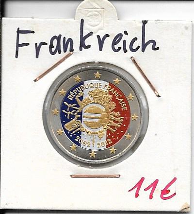 2 Euro Frankreich 2012 10 Jahre Euro Coloriert