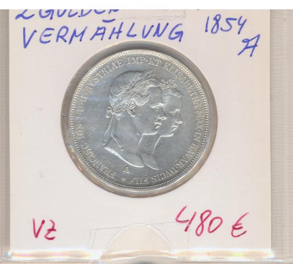 2 Gulden Taler 1854 A zur Vermählung Silber Franz Joseph I