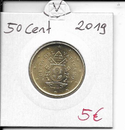 50 Cent Kursmünze Vatikan 2019