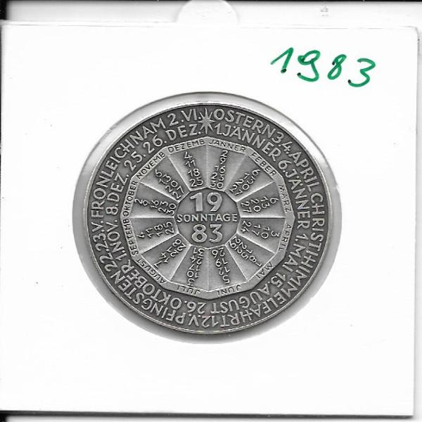 1983 Kalendermedaille Jahresregent Bronze versilbert