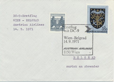 Erstflug Aua DC-9 Wien - Belgrad 14.9.1971