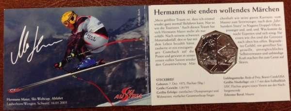 5 Euro Silber 2005 Skisport Kleiner Folder Hermann Meier ANK Nr.5c