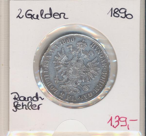 2 Gulden 1890 Rand-Fehler Silber