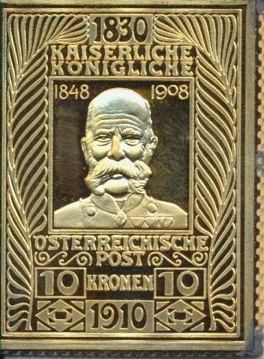 Collection Magna Austria Silber K&K 10 Kronen 1910 1848-1908 24 Karat Vergoldet gebraucht