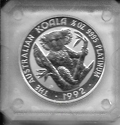 1/2 unze Platin Australien Koala 1992 50 Dollars