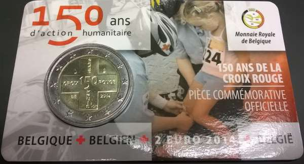 2 Euro Belgien 2014 150 Jahre Rotes Kreuz Blister