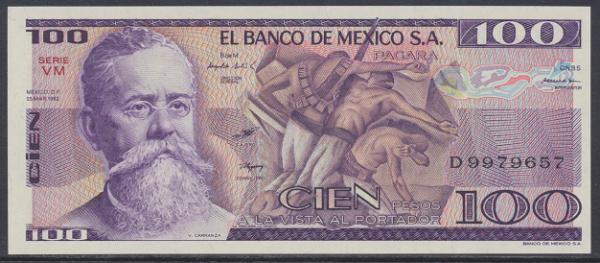 Mexiko- 100 Peso 1982 UNC - Pick 74