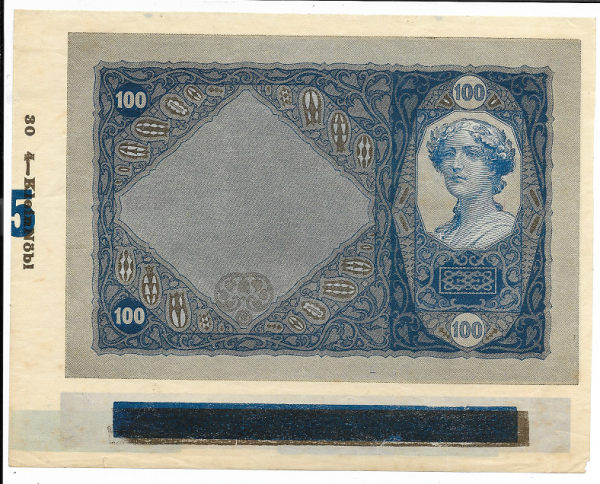 Donaustaat Noten 100 Kronen ohne Lotterieaufdruck ANK 196