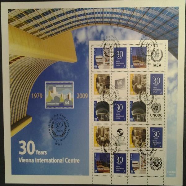 6.Grussmarken Bogen 30 Jahre Uno Wien 2009 gestempelt Version 2
