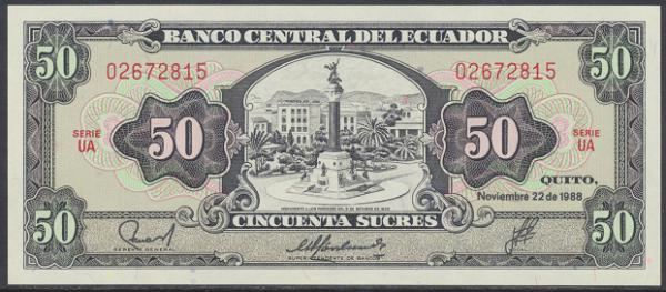 Ecuador – 50 Sucres (1988) (Pick 122) Erh. UNC