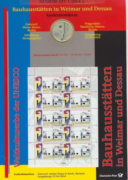 """Numisblatt Deutschland 2004/1 """"Bauhausstätten in Weimar und Dessau"""" mit 10€ Silbermünze Gedenkmünze"""