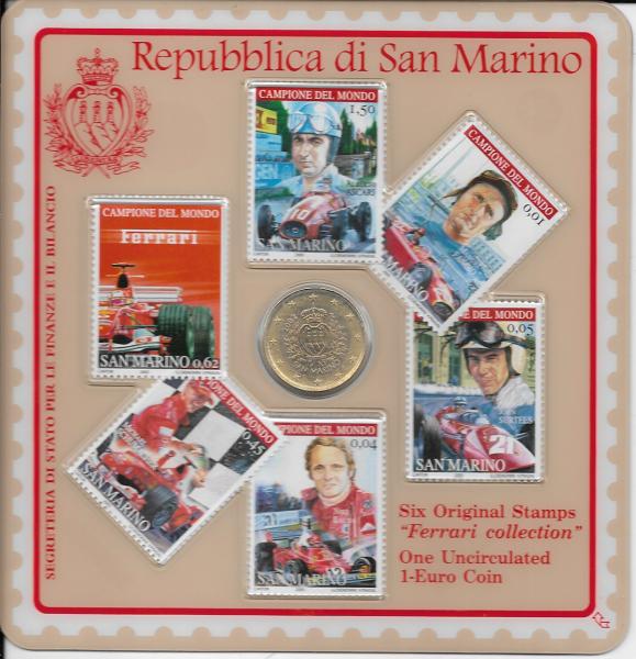Ferrari Minikit San Marino 2005 - Inhalt 1 Euro 2002 und 6 Briefmarken Auflage:20000