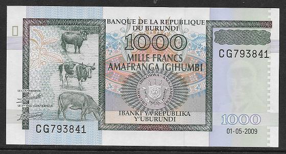 Burundi- 1000 Francs 2009 UNC - Pick 46