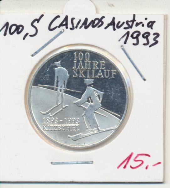 Casino Sonderjeton 100 Schilling 100 Jahre Skilauf Kitzbühel 1993 Casinos Austria Silber