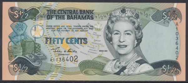 Bahamas -50 Cents 2001 UNC - Pick 68