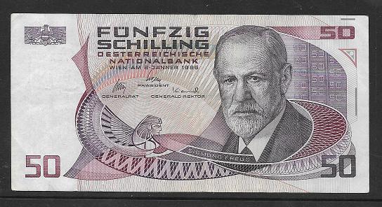 50 Schilling 2.1.1986 Sigmund Freud Gebraucht L872264K Ank Nr.288 Pick 149