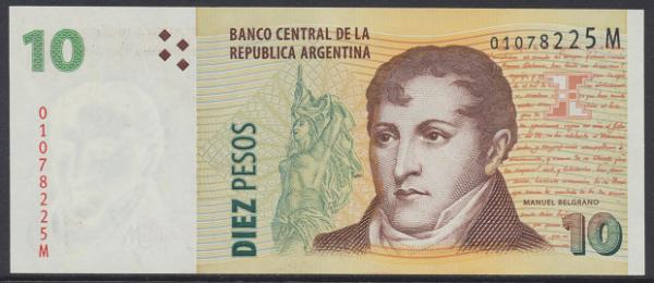 Argentinien – 10 Pesos (2003) (P.354) Erh. UNC