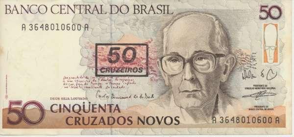 Brasilien- 50 Cruzeiros on 50 Cruzados Novos 1990 UNC - Pick 223
