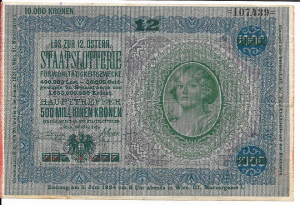 Donaustaat Noten 1000 Kronen mit Lotterieaufdruck 12 Lotterie 1924 ANK197