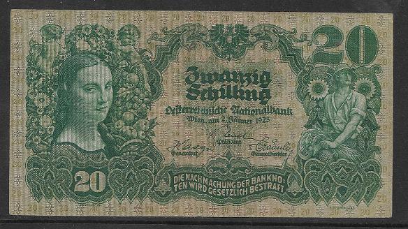 20 Schilling 2.1.1928 Nr.1290 86023 ANK 219 Pick 95