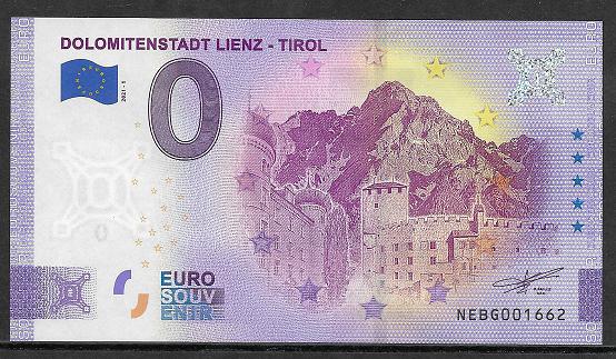 ANK.Nr. Dolomitenstadt Lienz Tirol Sterne Unc.0 Euro Schein 2021-1