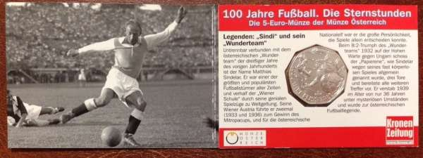 5 Euro Silber 2004 100 Jahre Fußball in Österreich Sindelar ANK Nr.4c