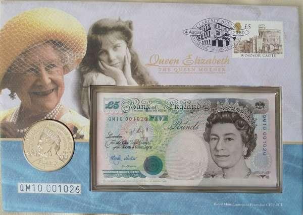 Numisbrief 5 Pfund Banknote +5 Pfund Queen Elisabeth the Queen Mother