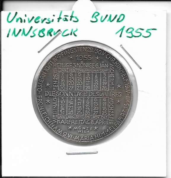 1955 Kalendermedaille Jahresregent Universität s Bund Innsbruck Bronze versilbert