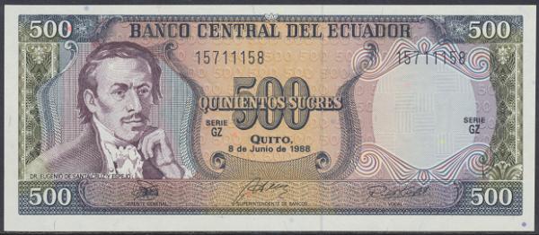 Ecuador – 500 Sucres (1988) (Pick 124a) Erh. UNC