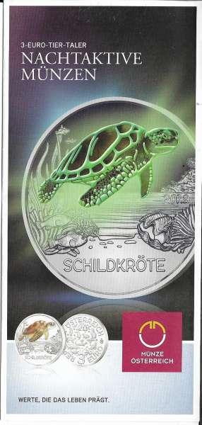 ANK Nr. 10 Flyer FOLDER ZU DER 3 EURO MÜNZE Tiertaler Schildkröte 2019