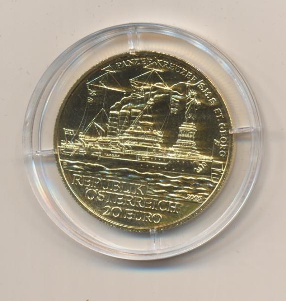 20 EURO Silber 2005 S.M.S Sankt Georg 24 Karat Vergoldet