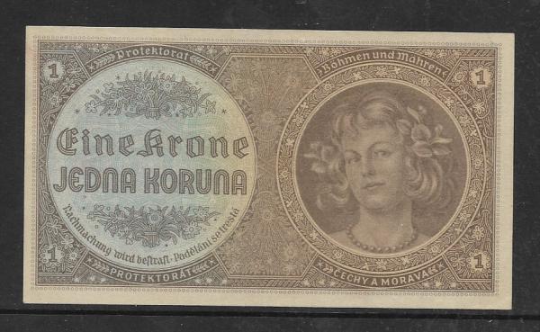 Protektorat Böhmen und Mähren 1 Koruna Serie A065 Bankfrisch