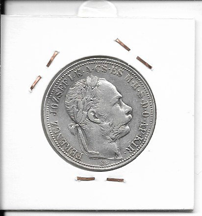 1 Gulden Forint 1890 KB Silber Franz Joseph ohne Fiume Wappen