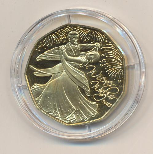 ANK Nr.23 24 Karat vergoldet 2013 Neujahrsmünze 2013 Wiener Walzer 5 Euro Silber