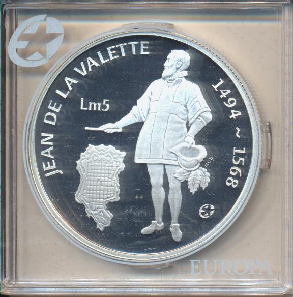 5 Pfund Liri Malta 2007 PP Jean De La Valette 1494-1568 Silber Ag Europa Stern