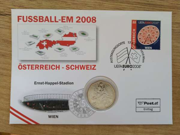 NBE 14) EM 2008 Ernst Happel Stadion Numisbrief mit 5 Euro Silber Dribbling