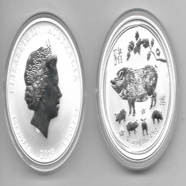 Australien 1 Dollar 2019 Jahr des Schweines Zodiak 31,1g Silber Unze