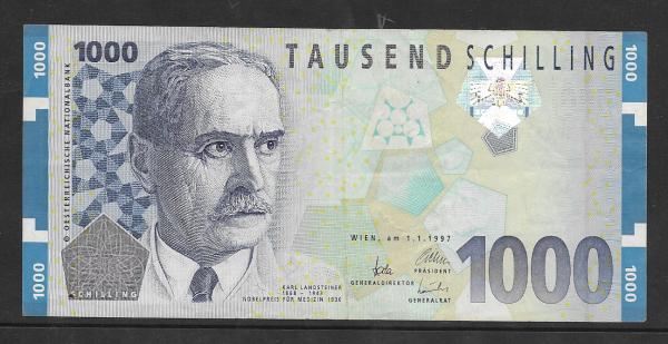1000 Schilling 1.1.1997 Karl Landsteiner Ank.292 gebraucht NR: AG 879631 S Pick 152
