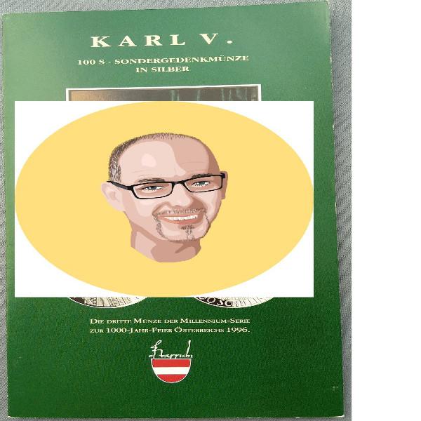 1992 100 Schilling - Karl V silber nur Flyer Folder