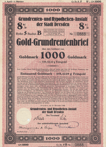 Stadt Dresden Gold Grundrentenbrief 1000 Goldmark 1928