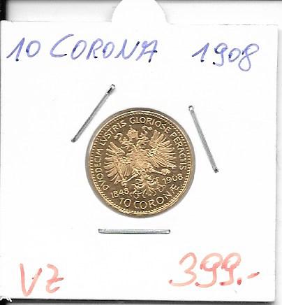 10 Kronen 1848-1908 Franz Joseph I Gold 60 jähriges Regierungsjubiläum