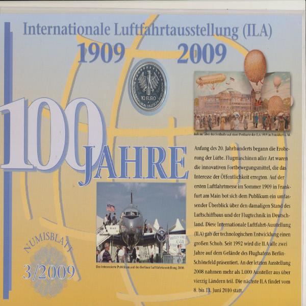 """Numisblatt Deutschland 3/2009 """"ILA Luftfahrtausstellung"""" mit10-€-Silbermünze"""