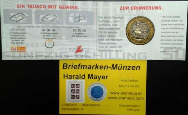 50 Schilling 2001 Schillingwährung Kleiner Blister Bimetall