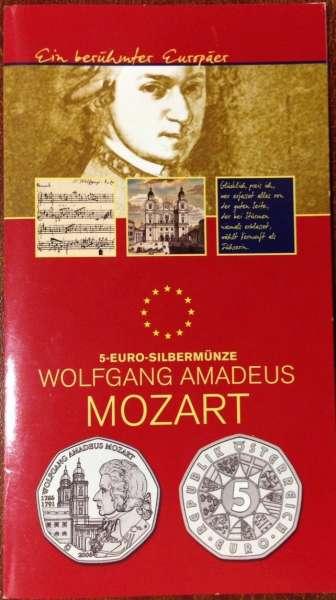 5 Euro Silber 2006 250 Geburtstag von Wolfgang Amadeus Mozart Blister ANK Nr. 8b