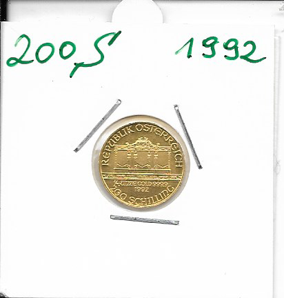 1992 Philharmoniker 1/10 Unze 200 Schilling ATS 3,11 Gramm